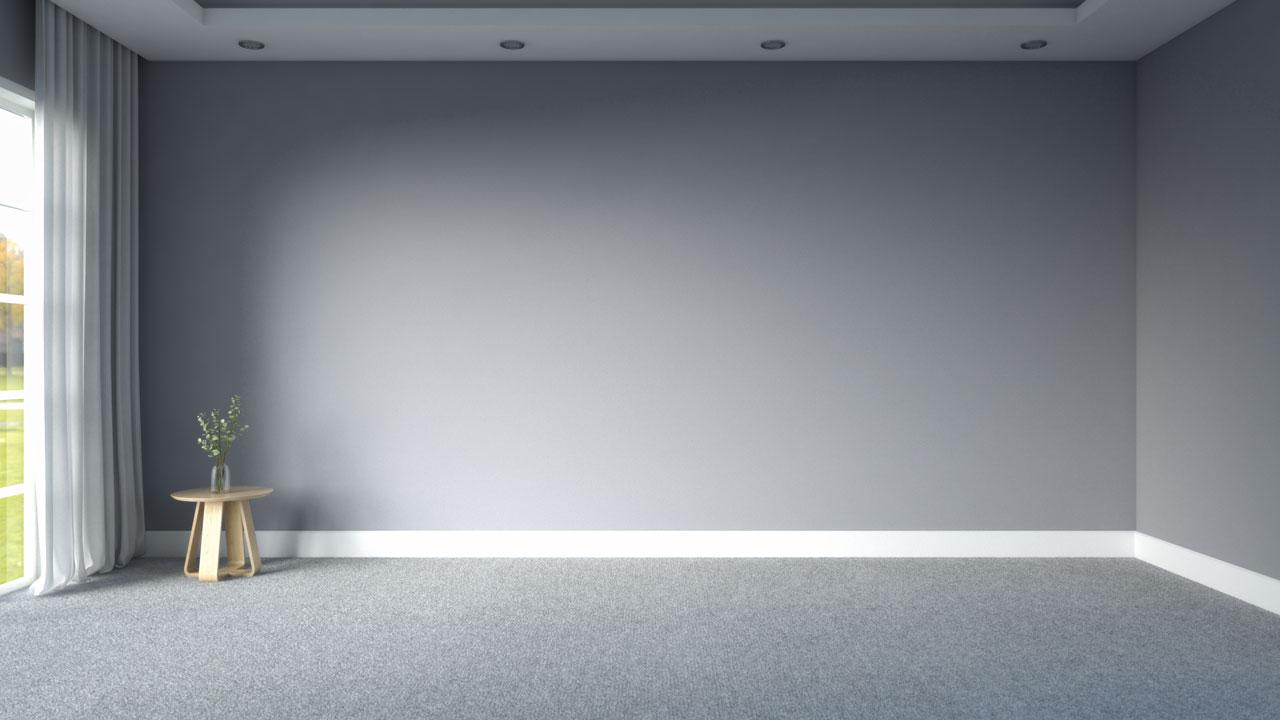 Light gray carpet with gray walls