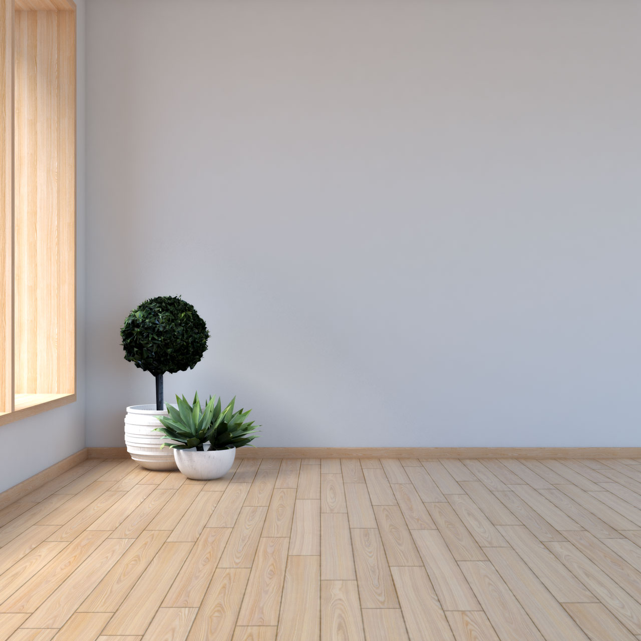 Light gray walls with maple floors
