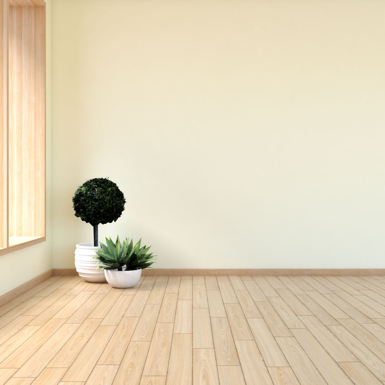 Light yellow walls with maple floors