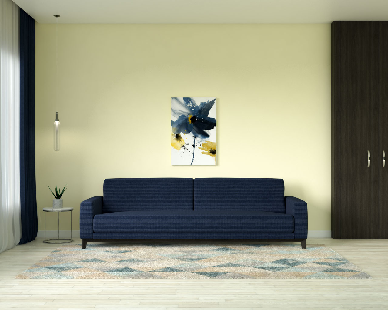 Light yellow walls with navy blue couch