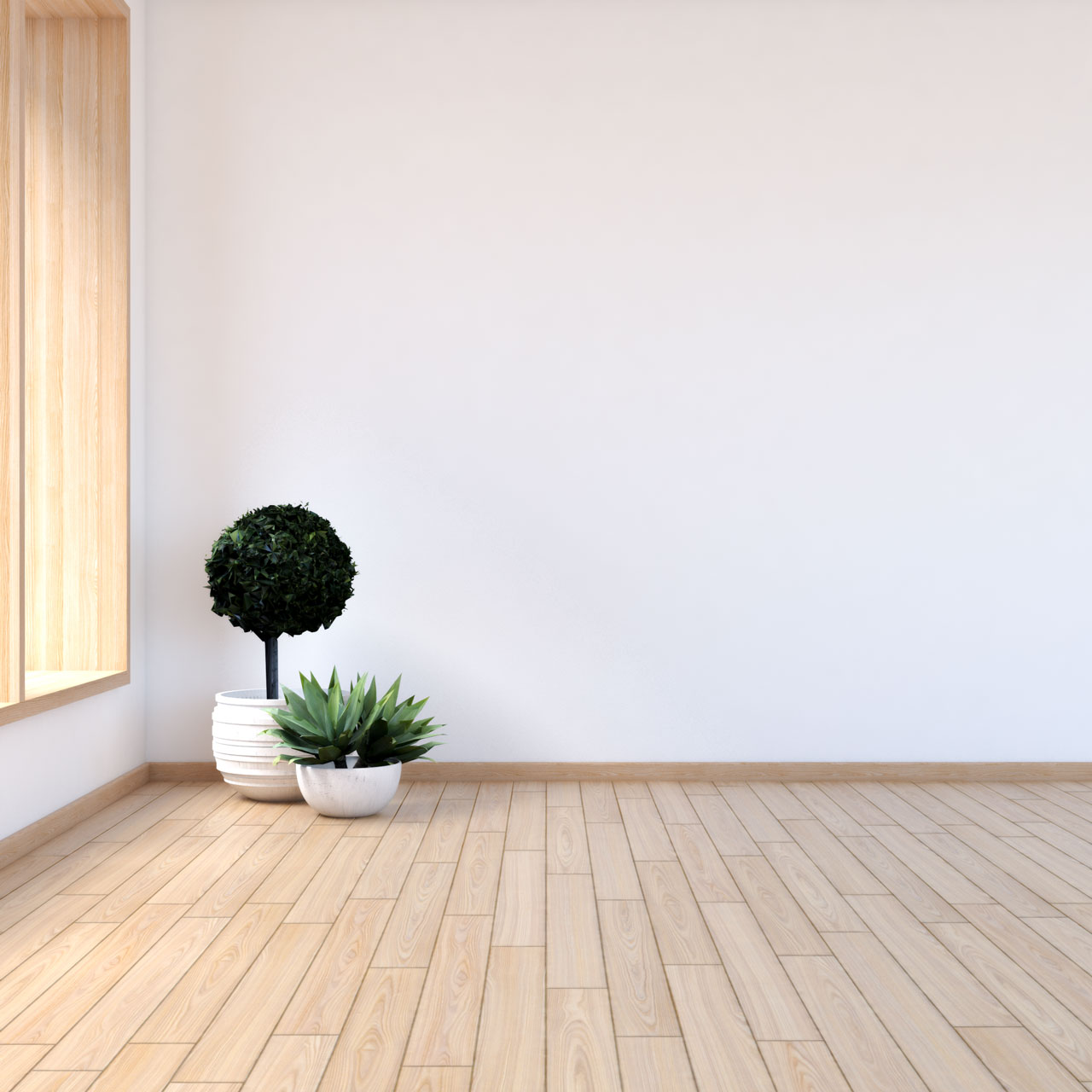 White walls with maple floors