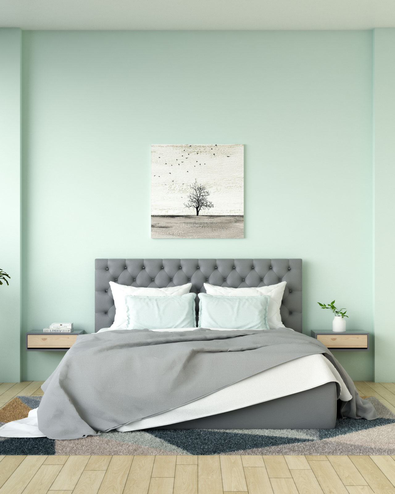 Mint wall with grey bed set