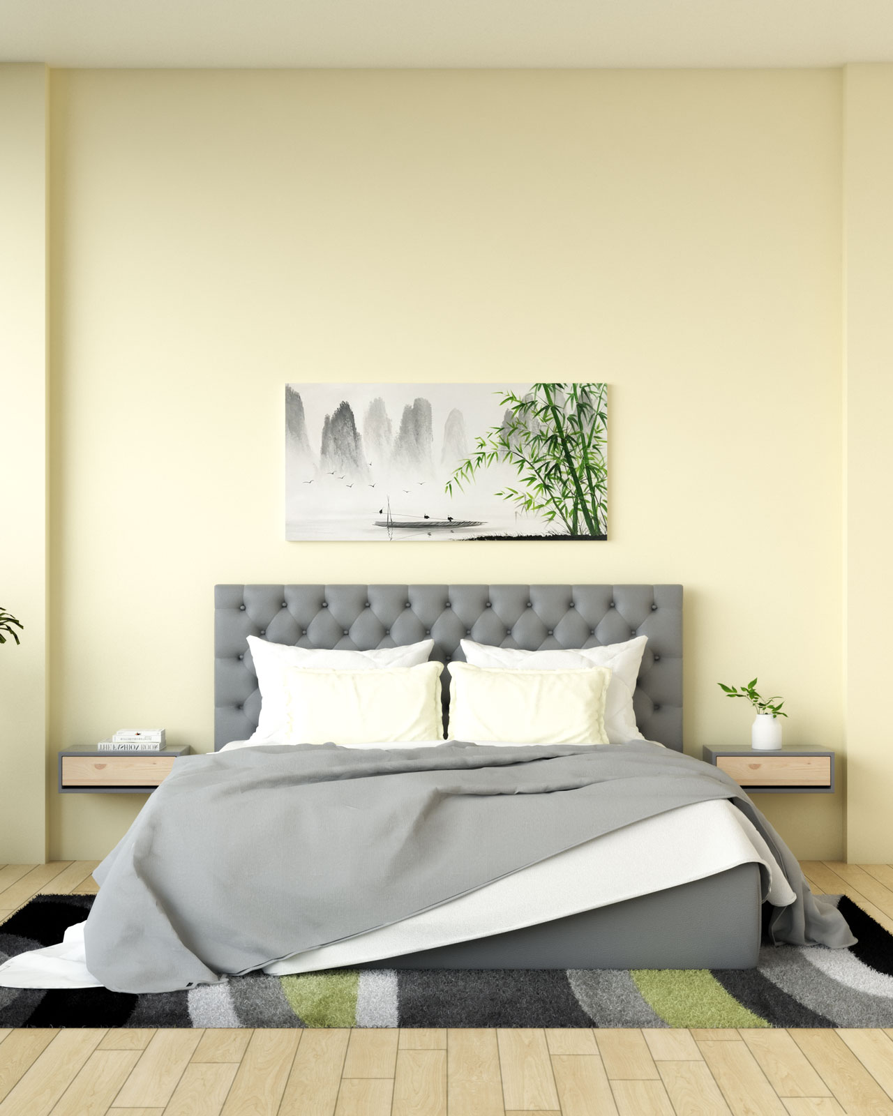 Light yellow wall with gray bed