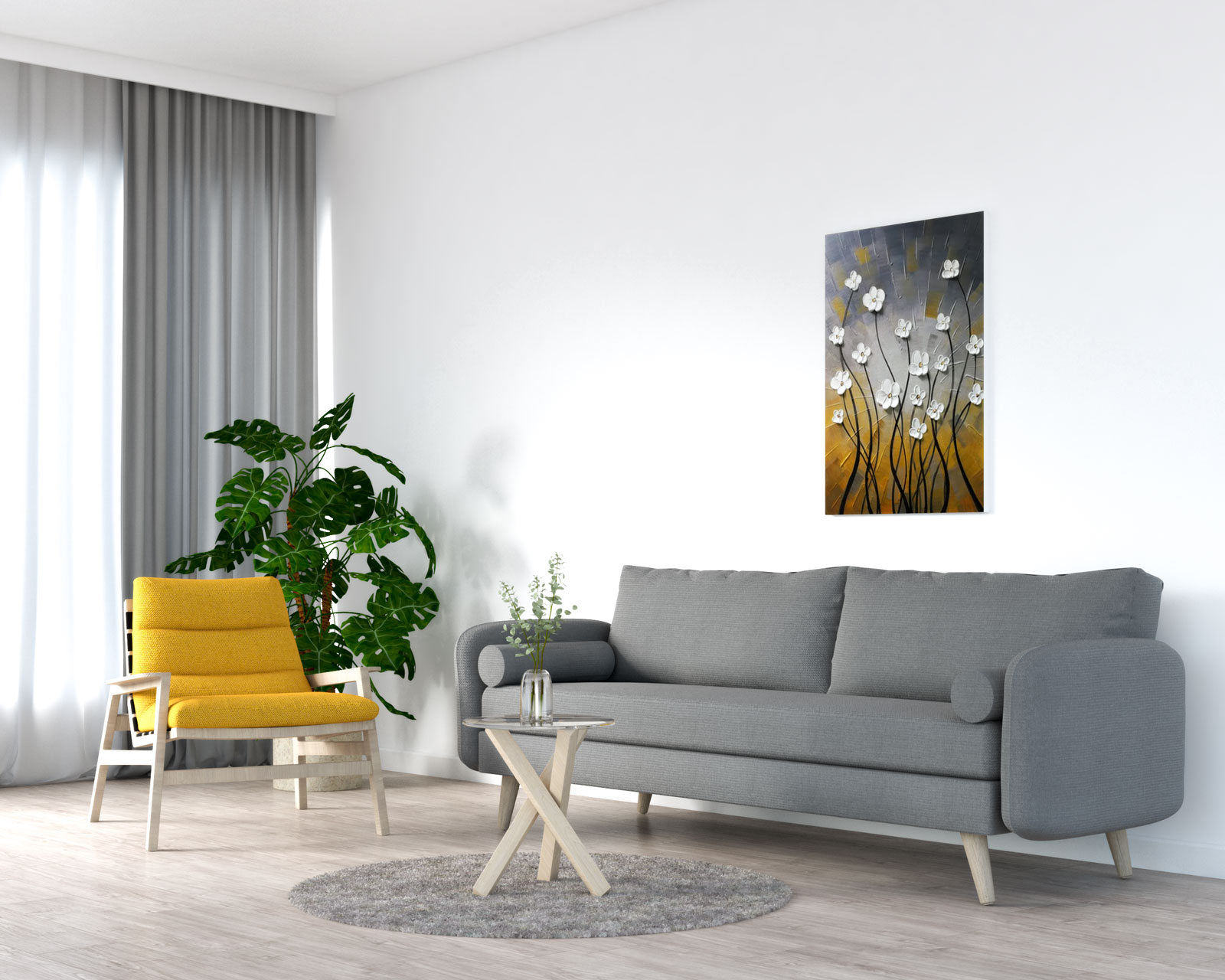 Yellow accent chair with grey sofa
