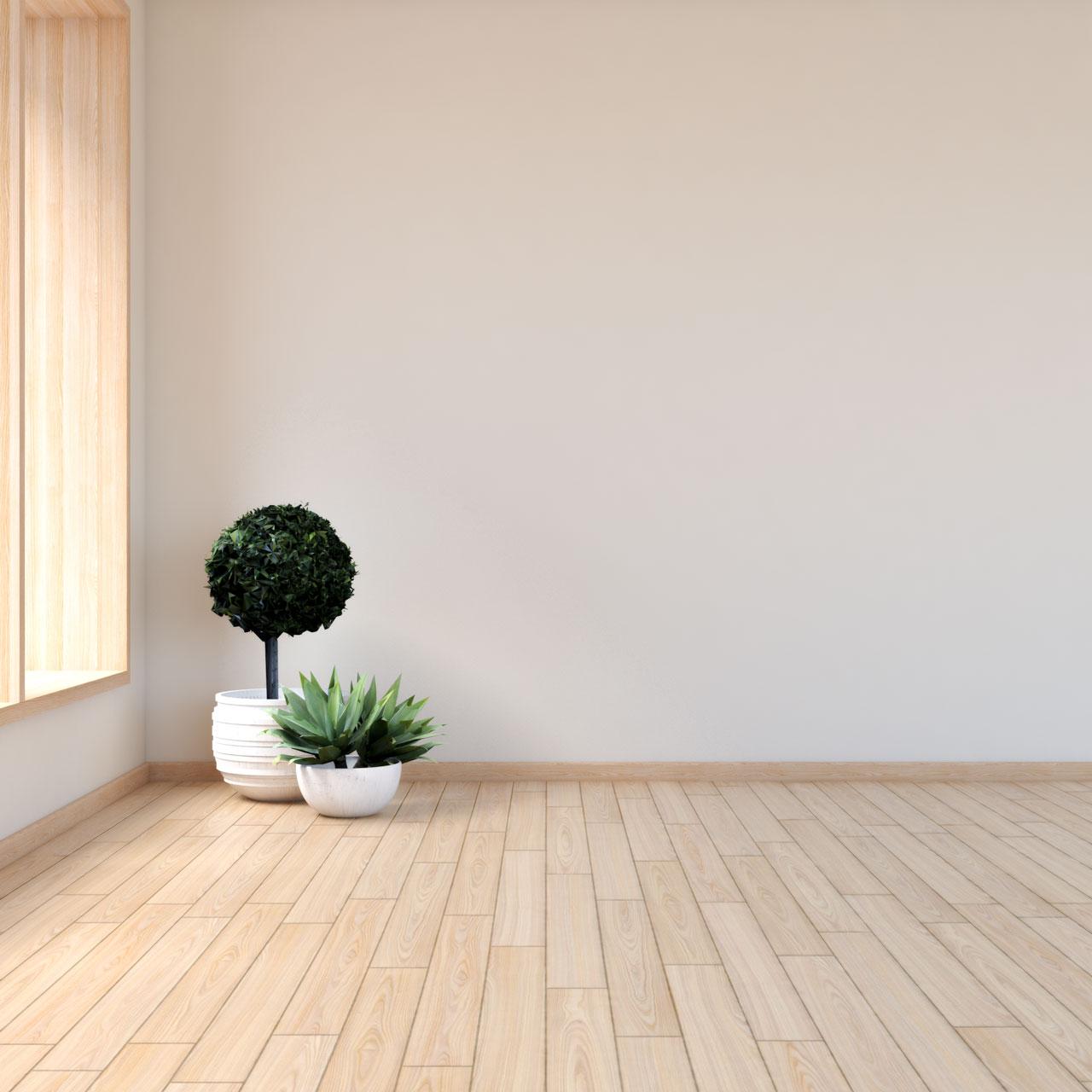 Natural tan walls with light wood flooring