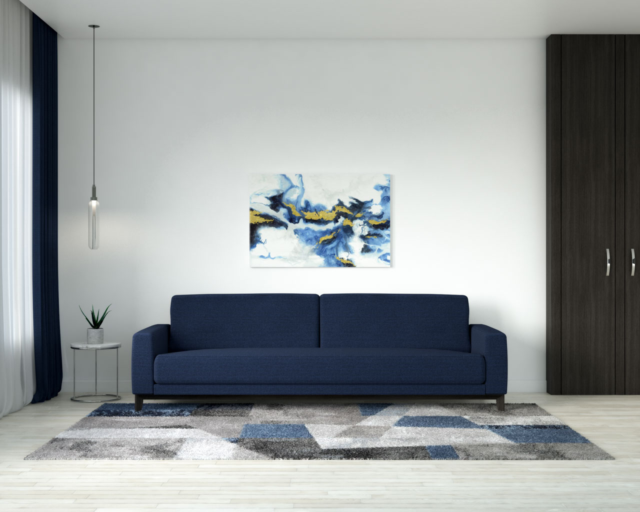 White wall with navy couch