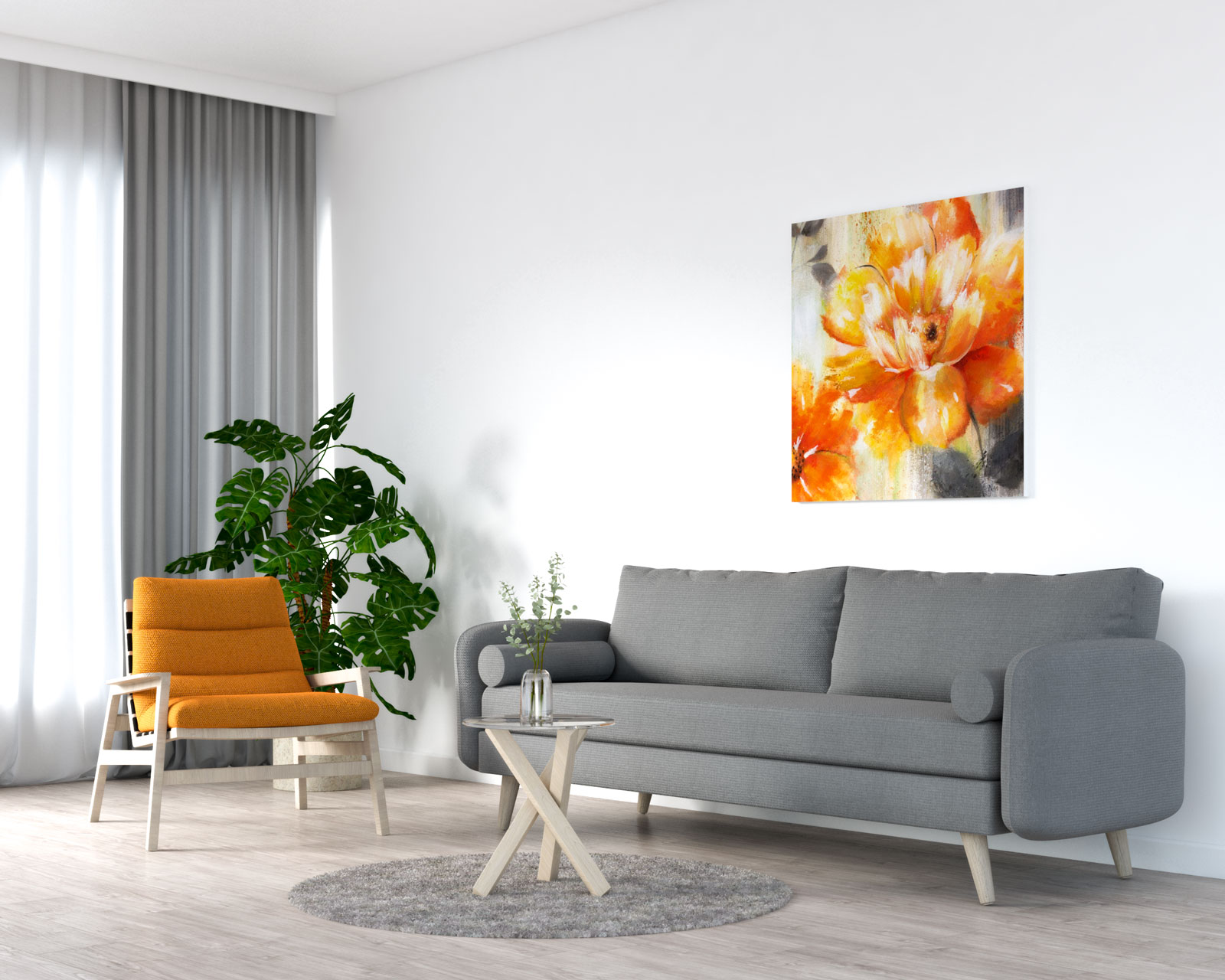 Orange accent chair with gray sofa