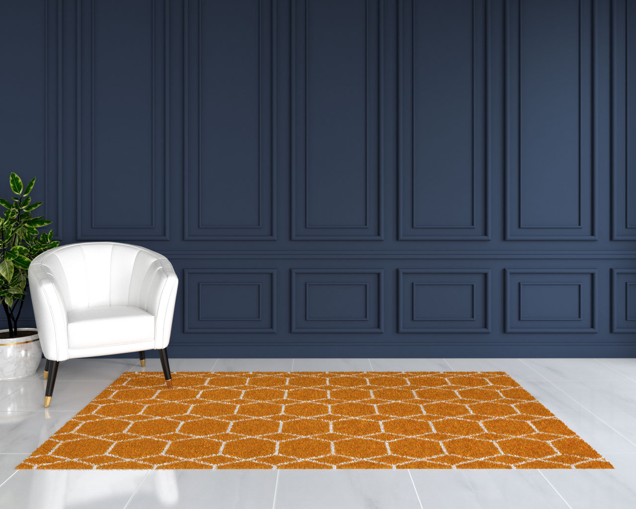 Orange rug with dark blue wall