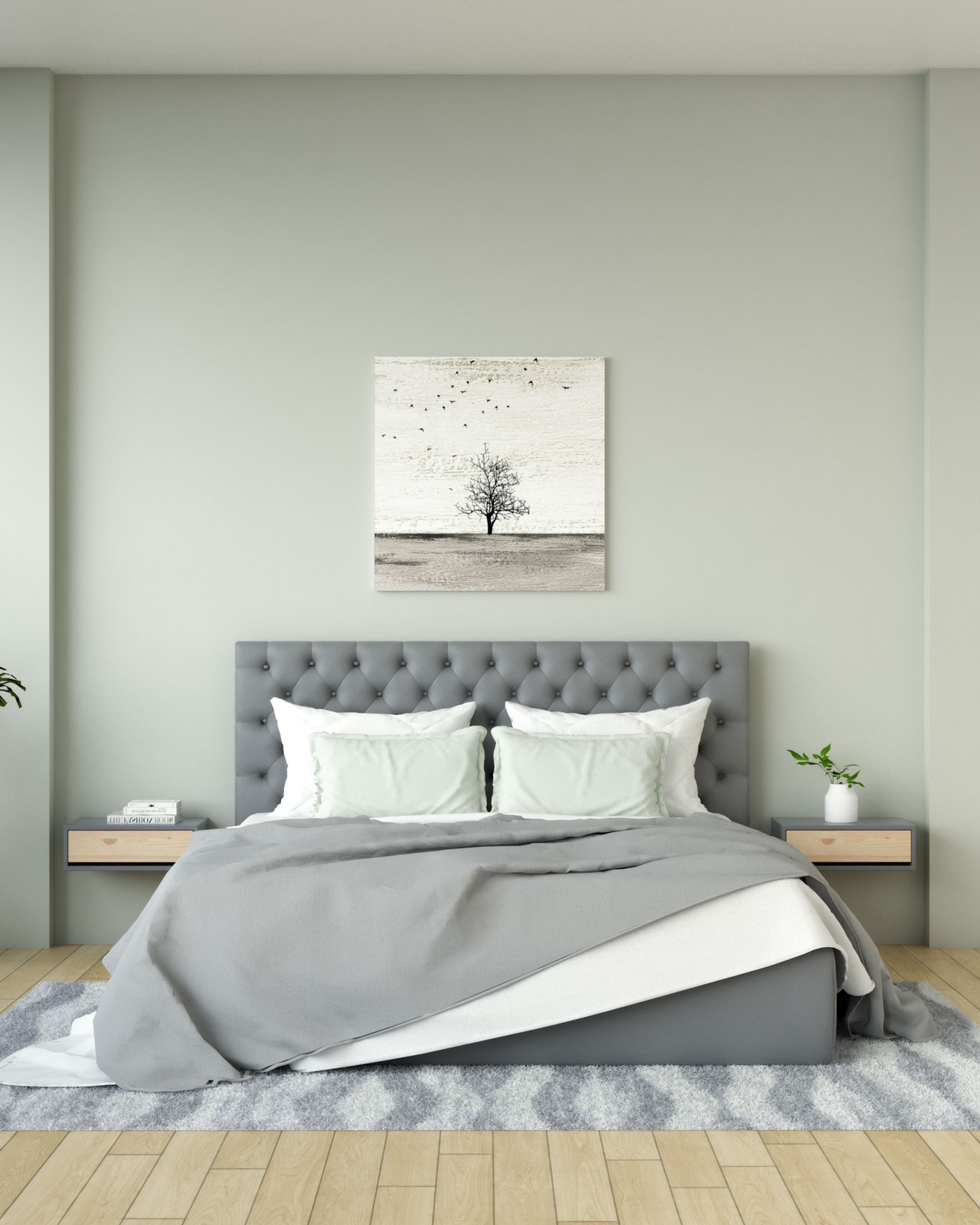 Pearl gray wall with grey bedding