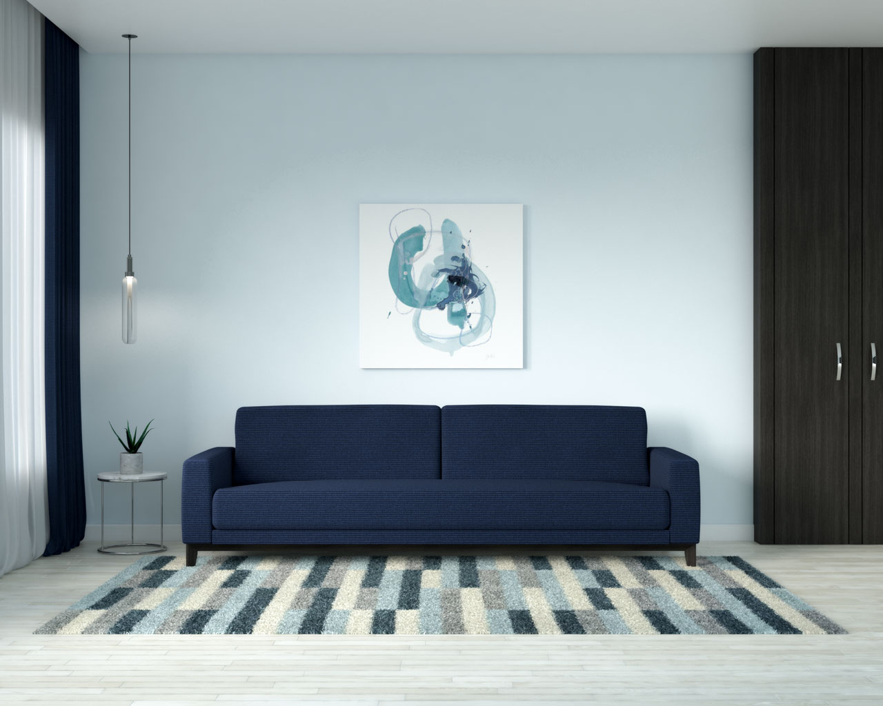 Sky blue walls with navy couch