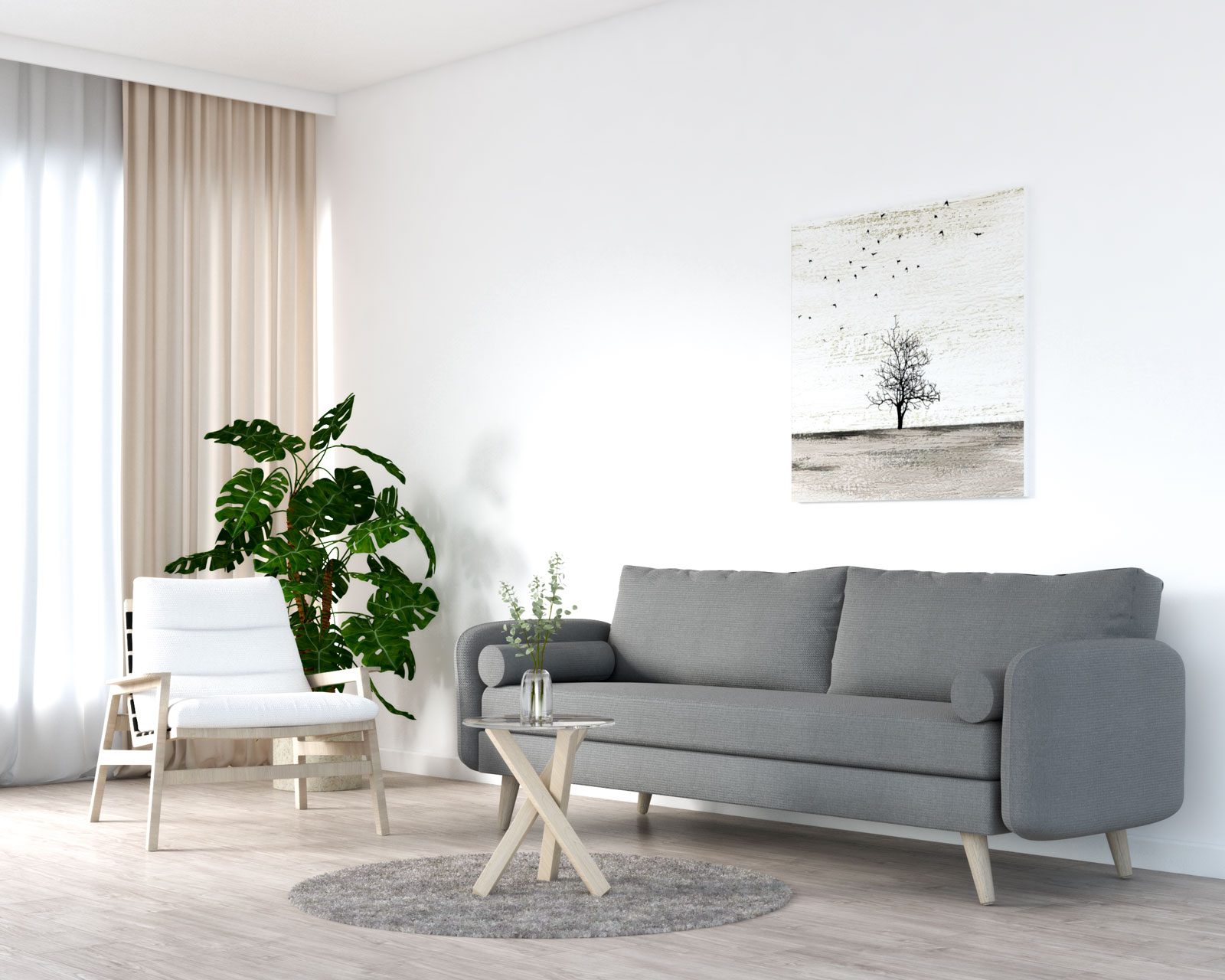White accent chair with grey sofa
