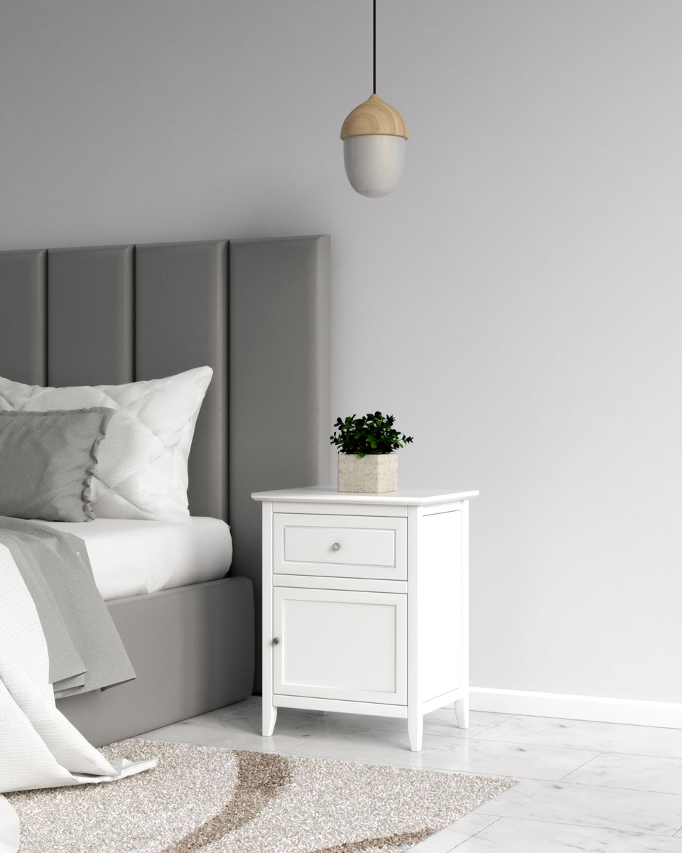 Classic white nightstand table