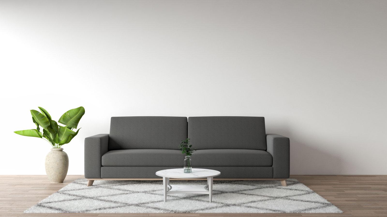 dark grey sofa with white area rug