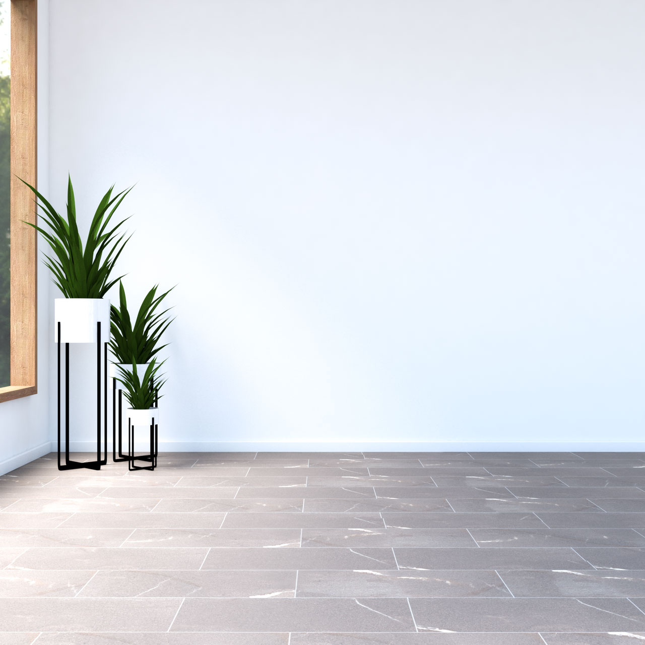 White walls with light brown tile floors
