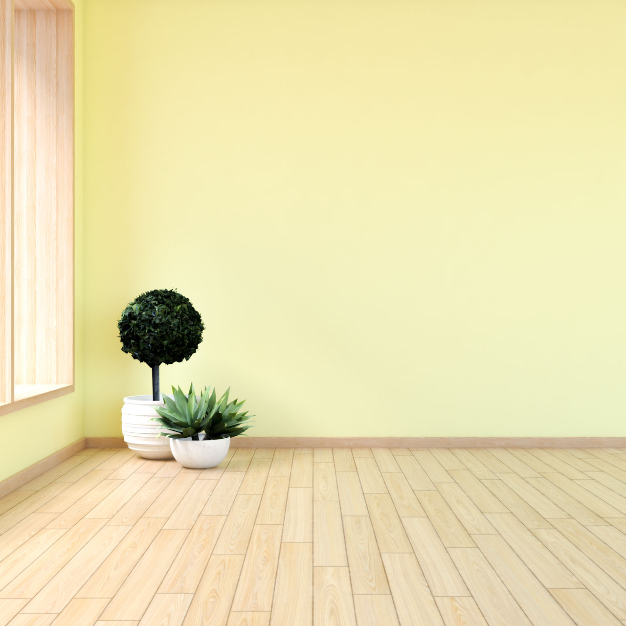 Yellow walls with maple flooring
