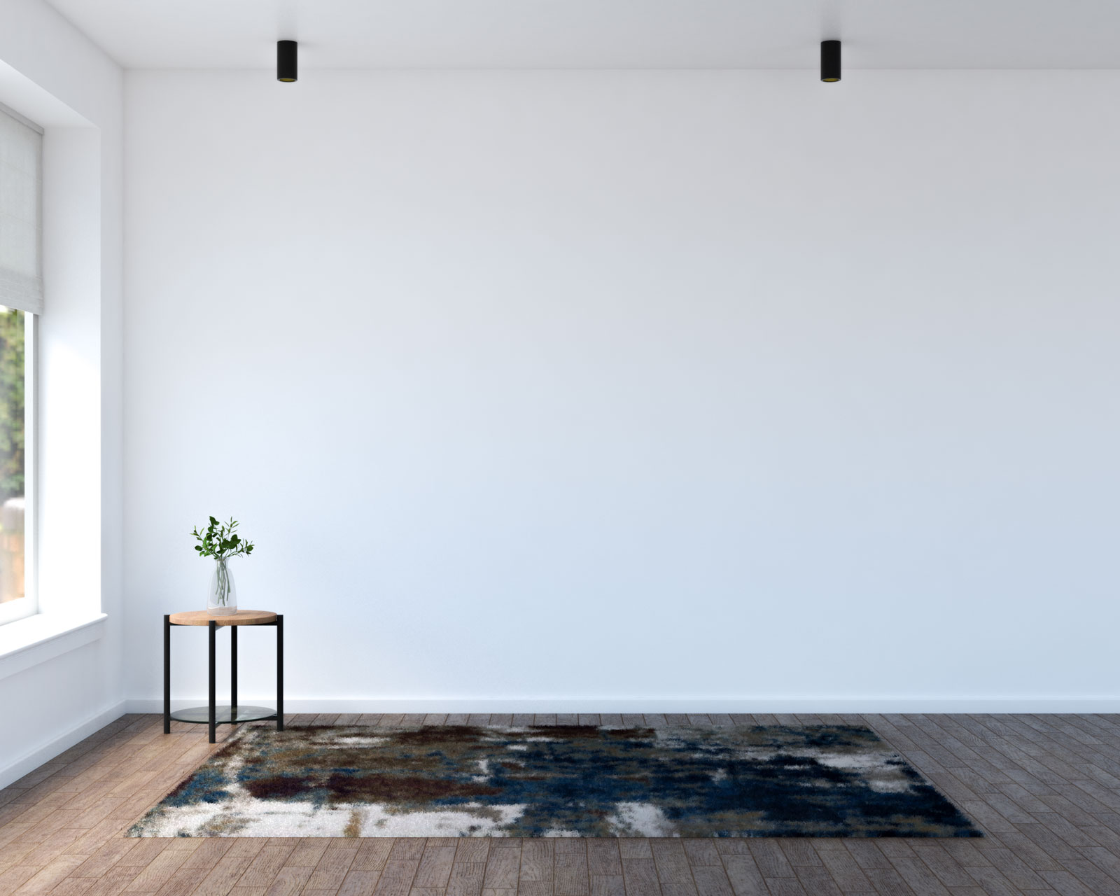 Blue and brown area rug with brown wood flooring