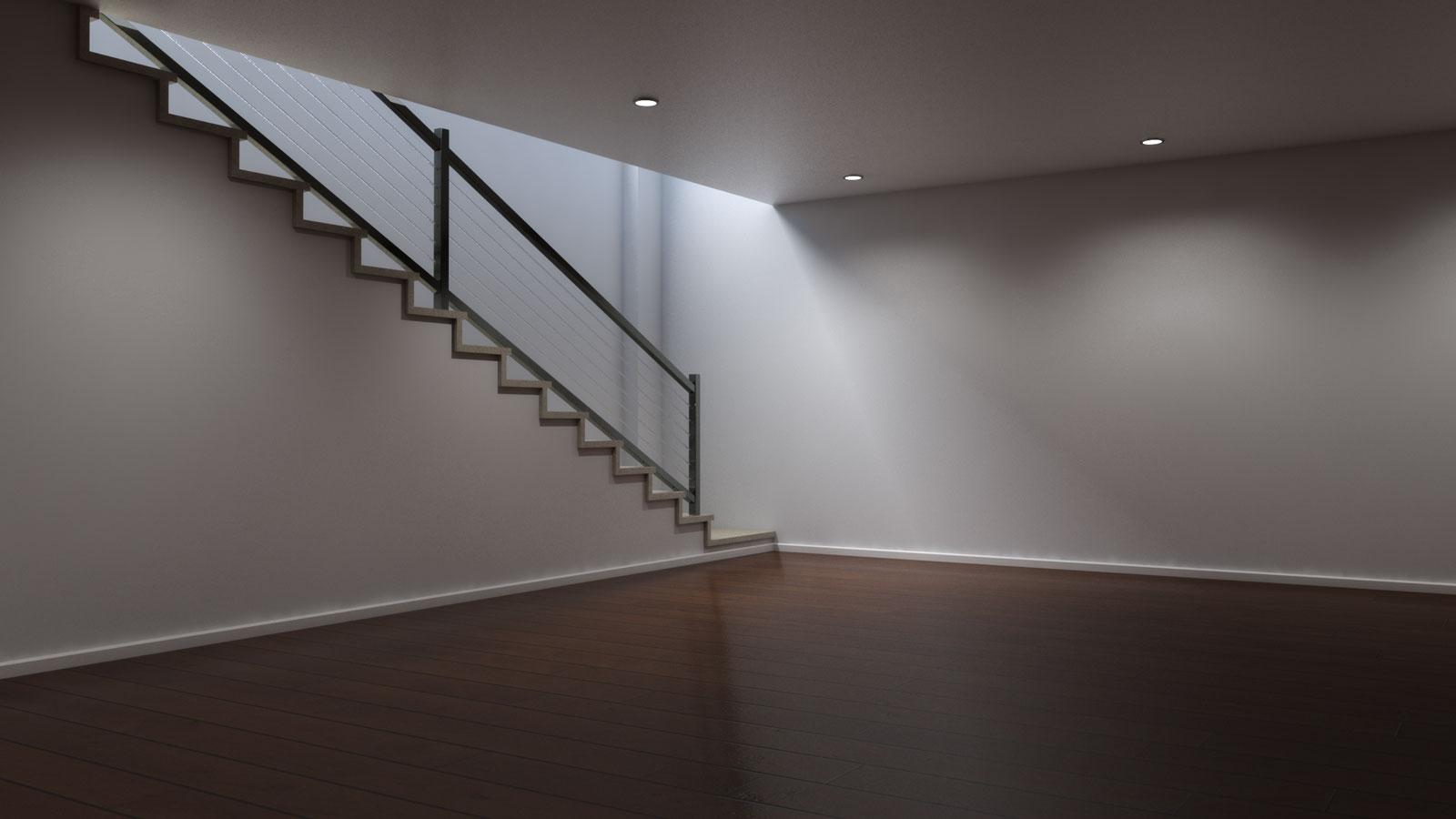 Basement using brown laminate floors