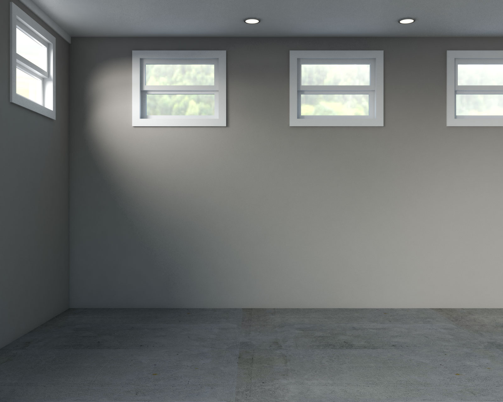 Basement with grayish brown walls and concrete flooring