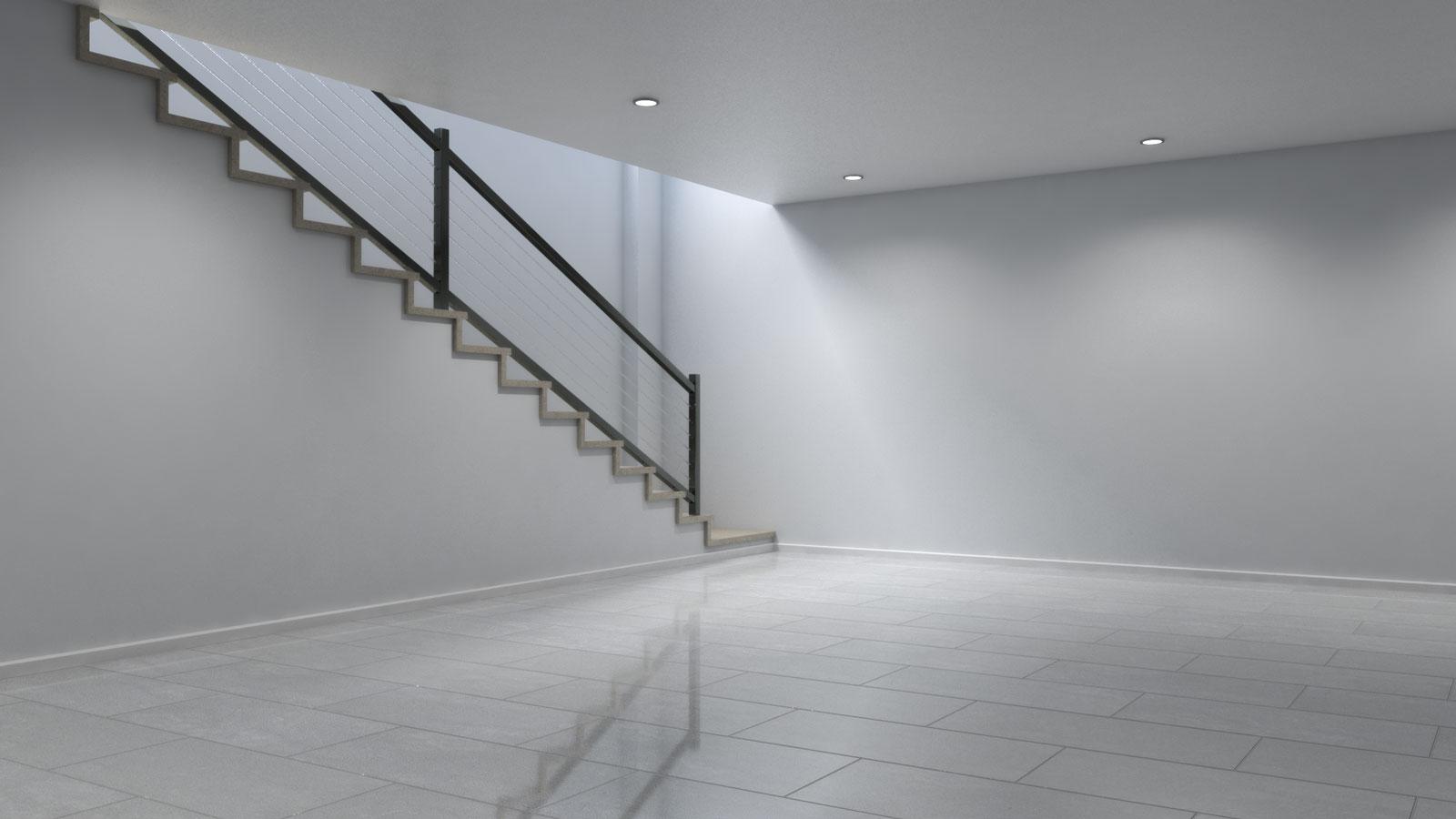 Basement using light gray tile floors
