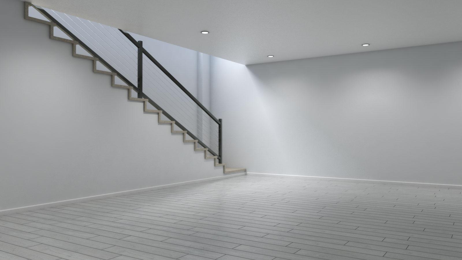 Basement using light gray wood floors