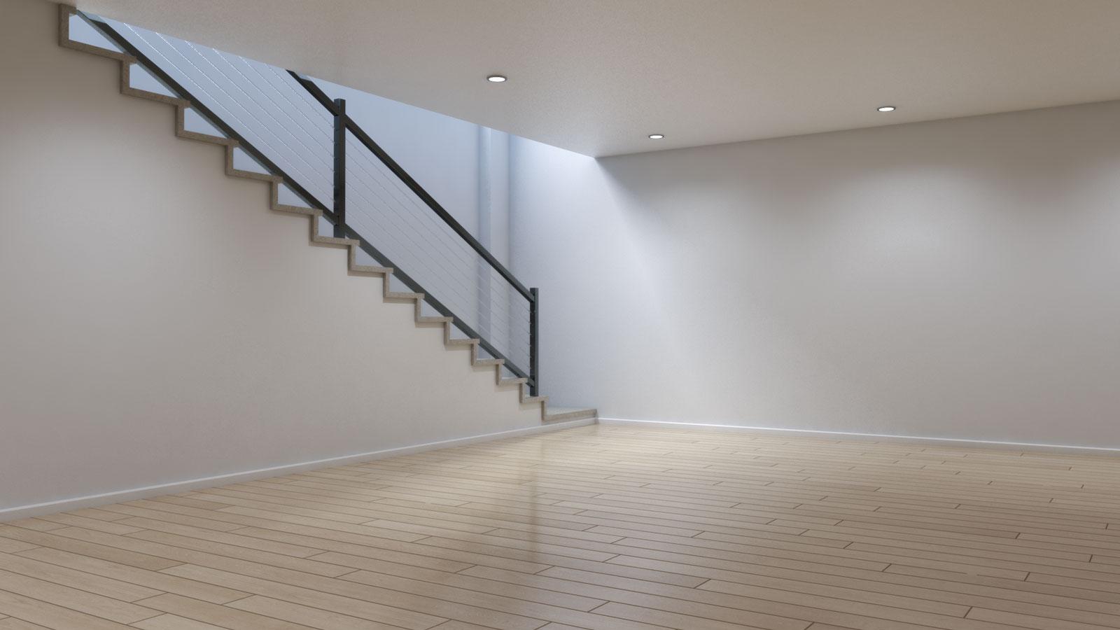 Basement using light natural wooden floors