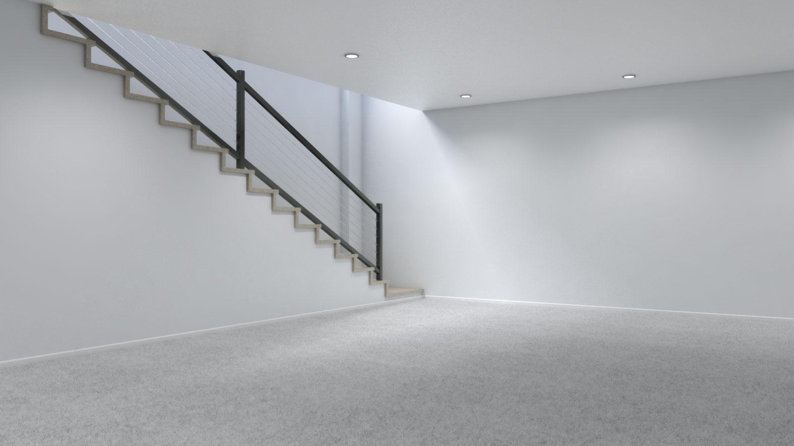 Basement using white carpet floors
