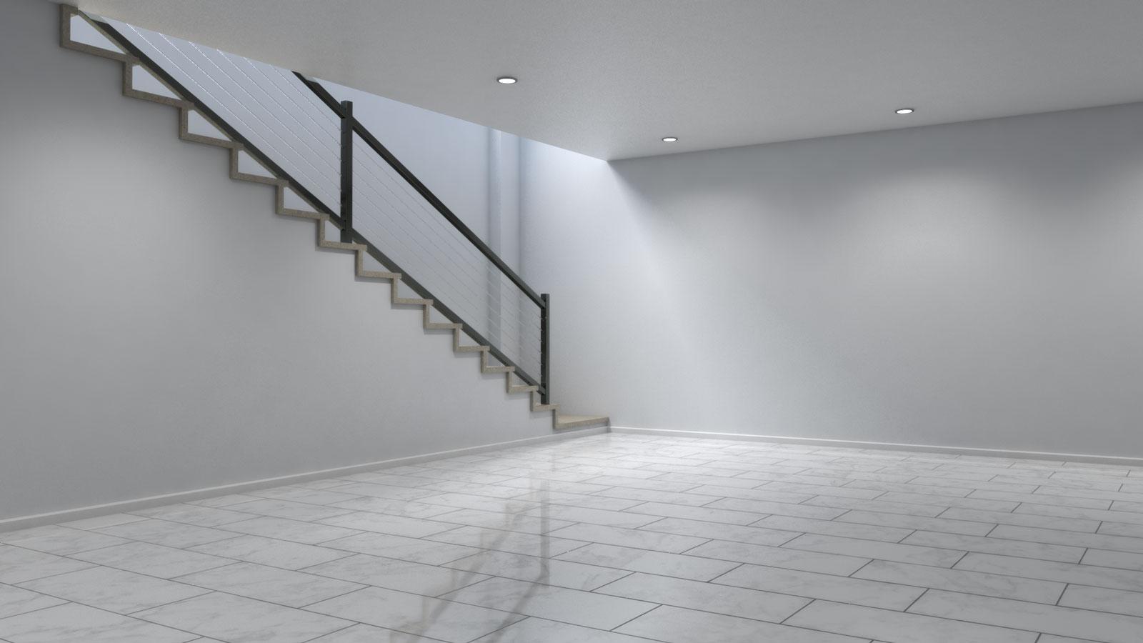 Basement using white tile floors