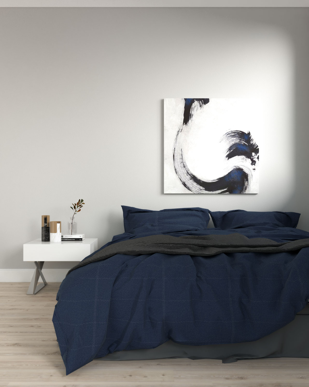 light gray bedroom with navy accent