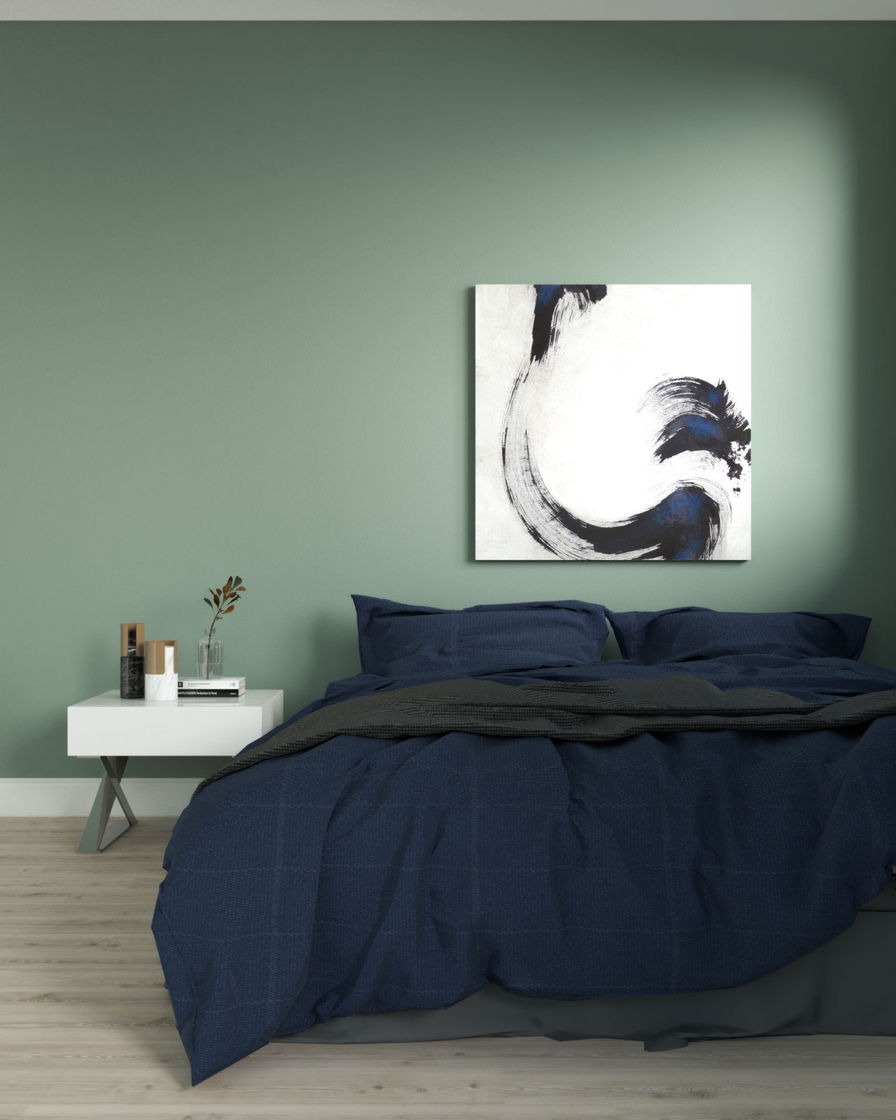 Pale green and navy bedroom ideas