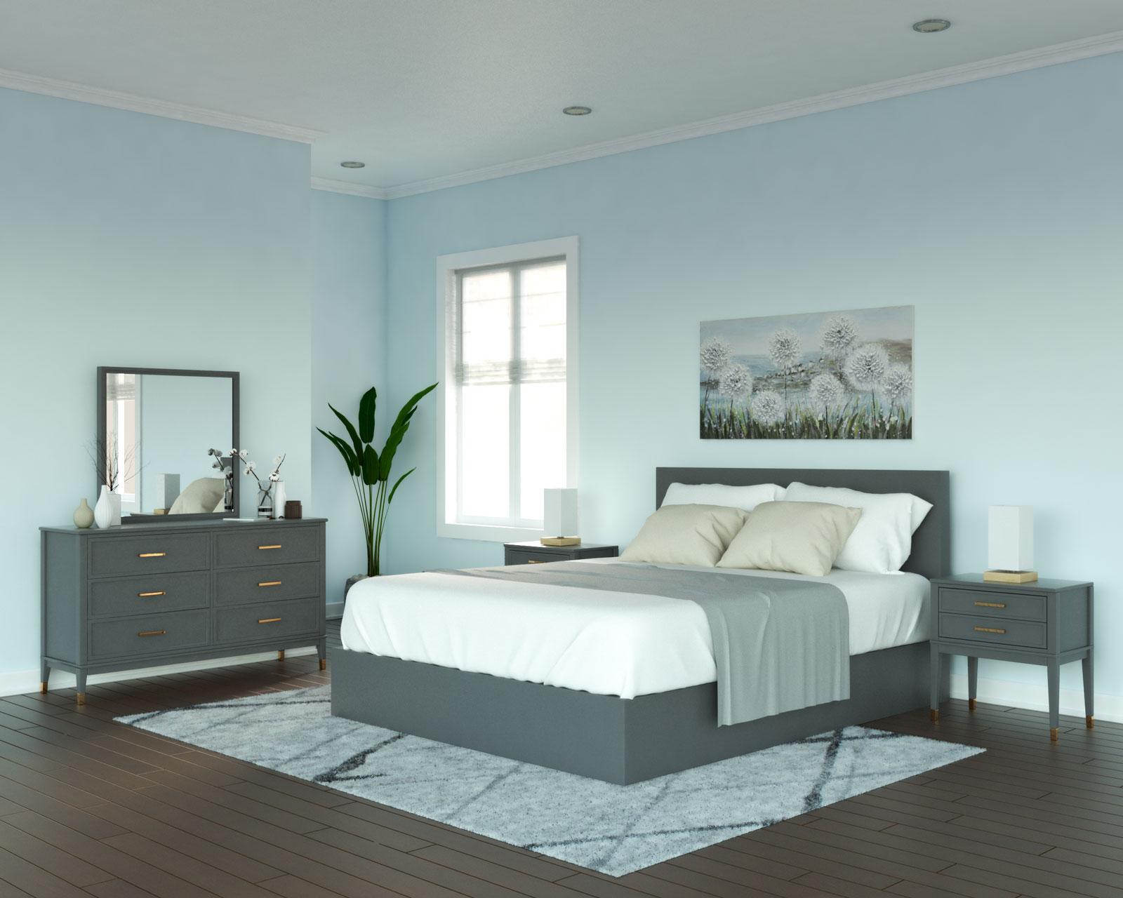 Sky blue and gray bedroom ideas