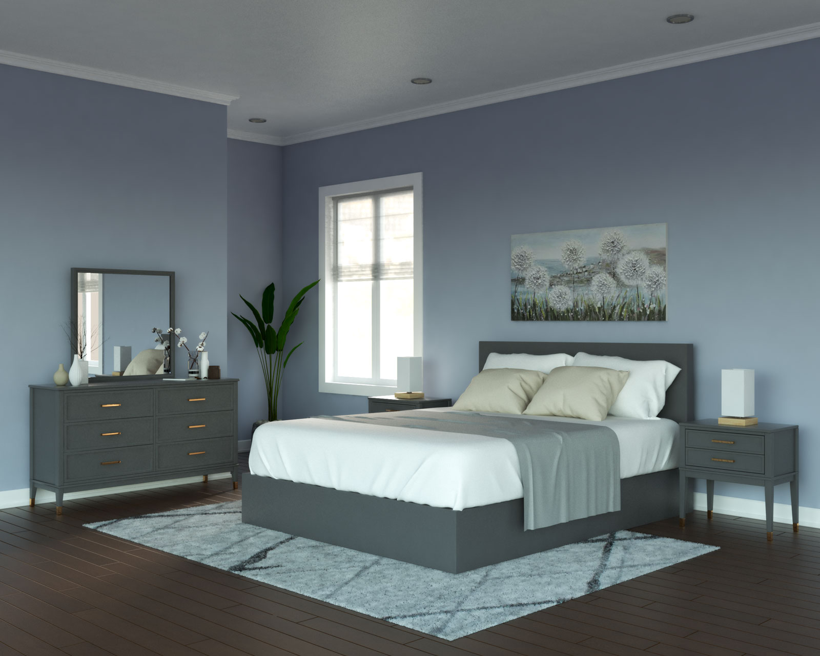 Slate blue walls with gray furniture