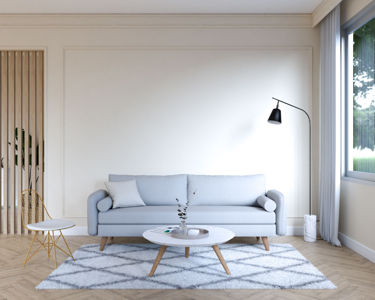 Simple light gray couch in front of beige wall