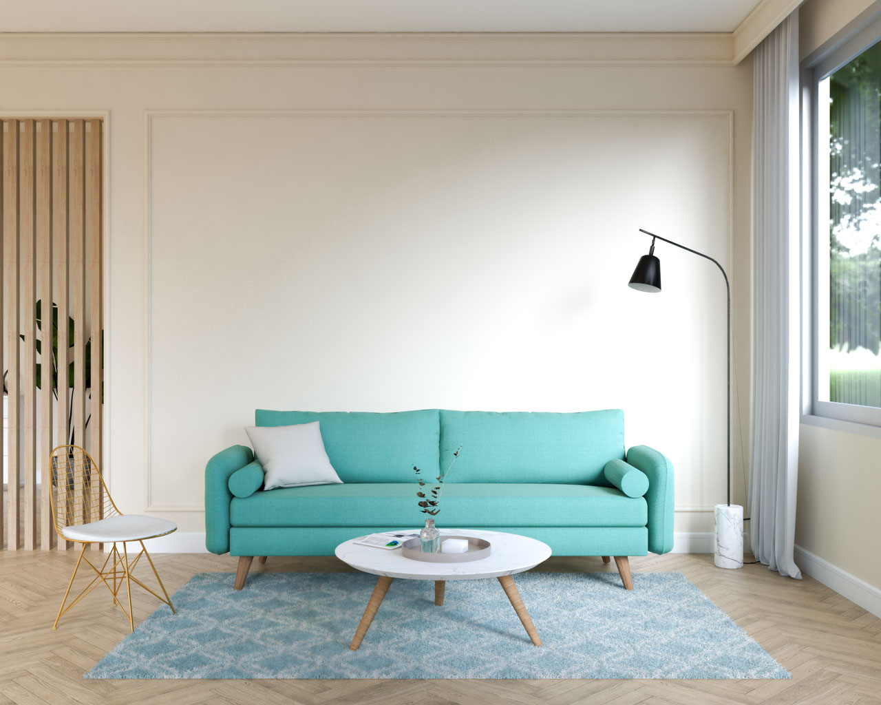 Teal couch in front of beige wall