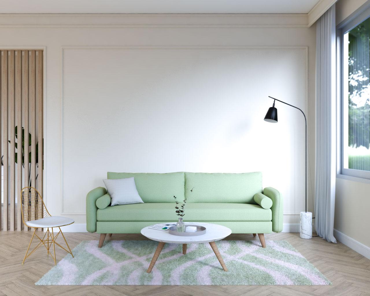 Light olive sofa in beige living room