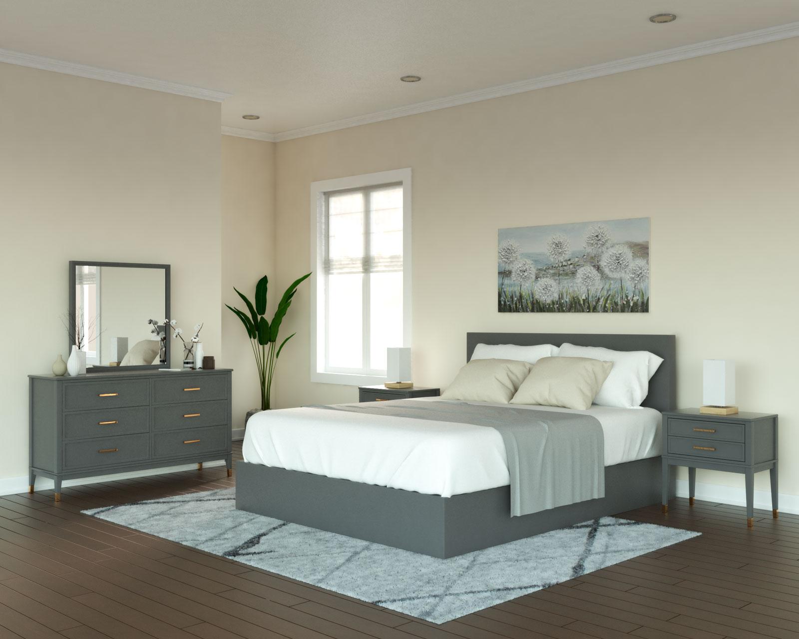 Beige walls with dark gray furniture