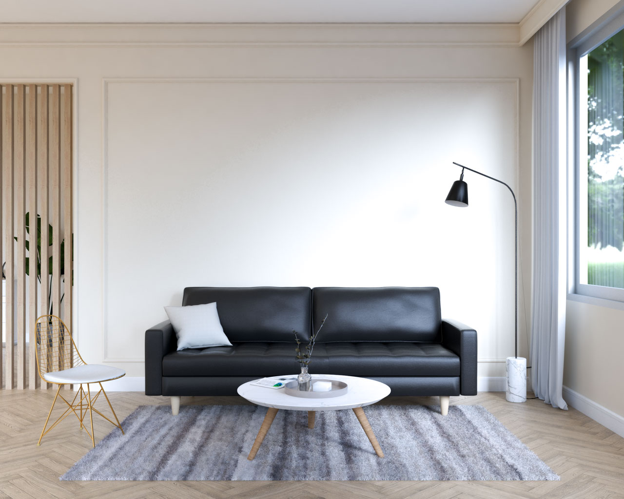 Black leather couch with beige walls