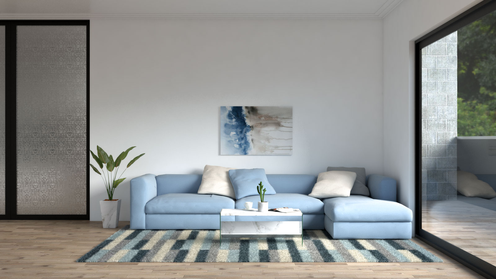 Blue living room with beige accent