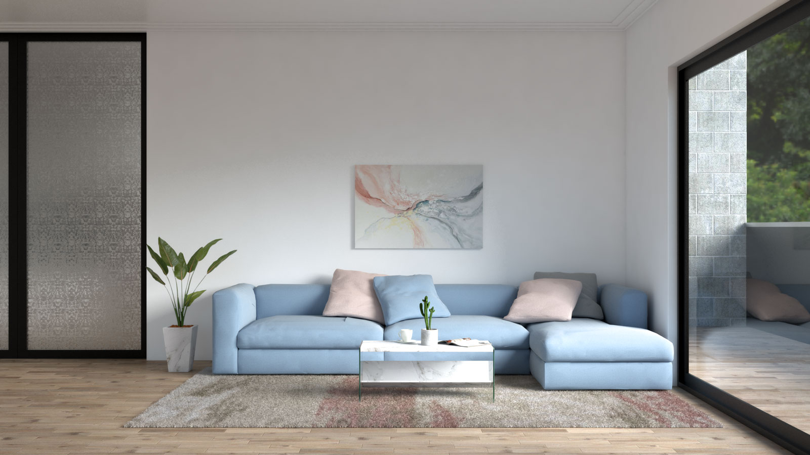 Blue living room with blush accent