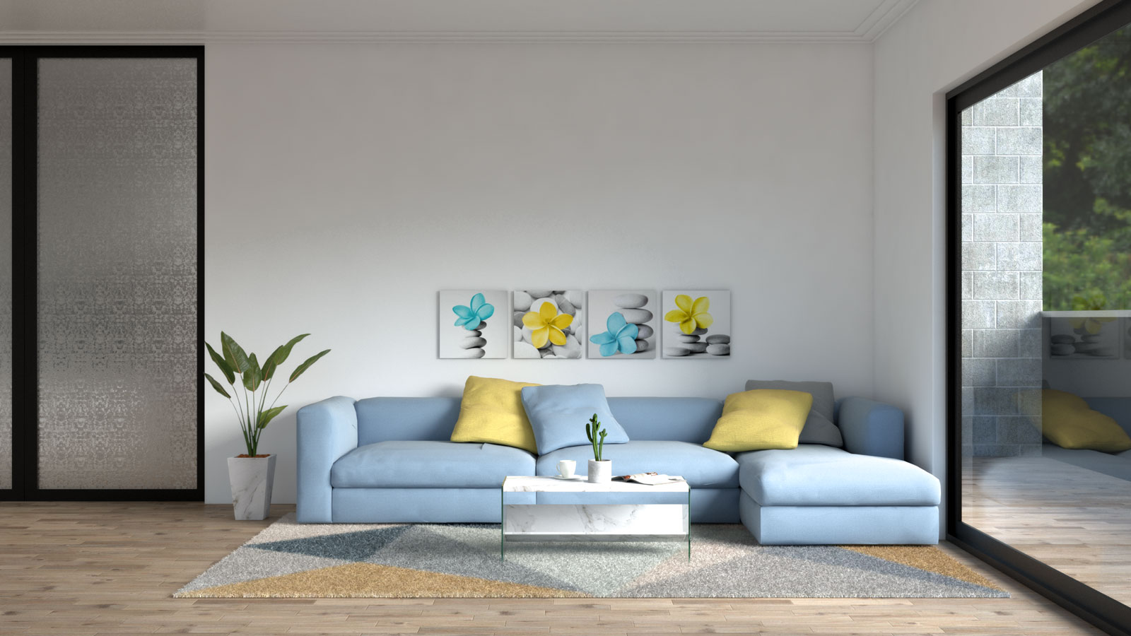 Blue sofa with yellow accent