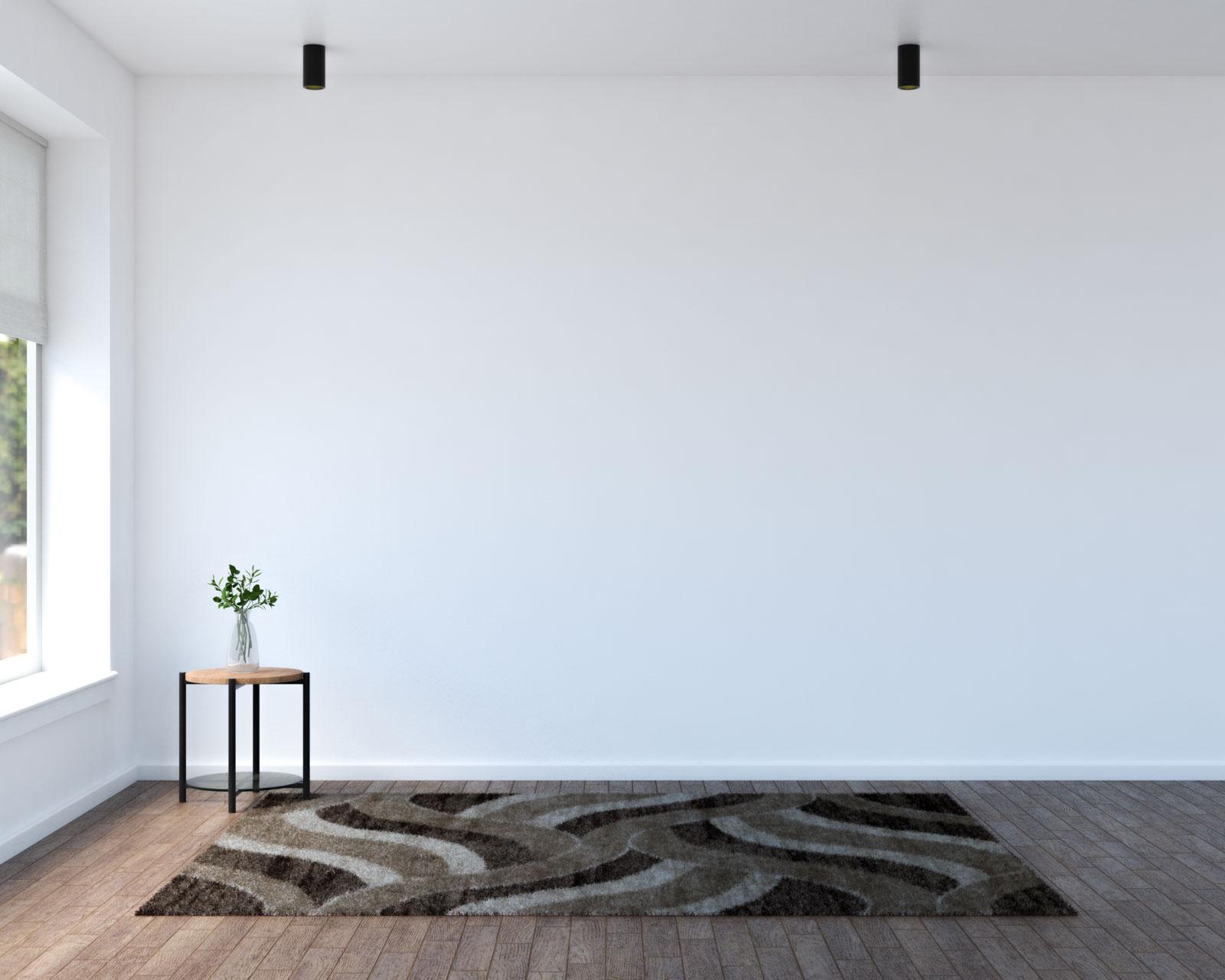 Wavy brown and beige rug with dark brown wood floors