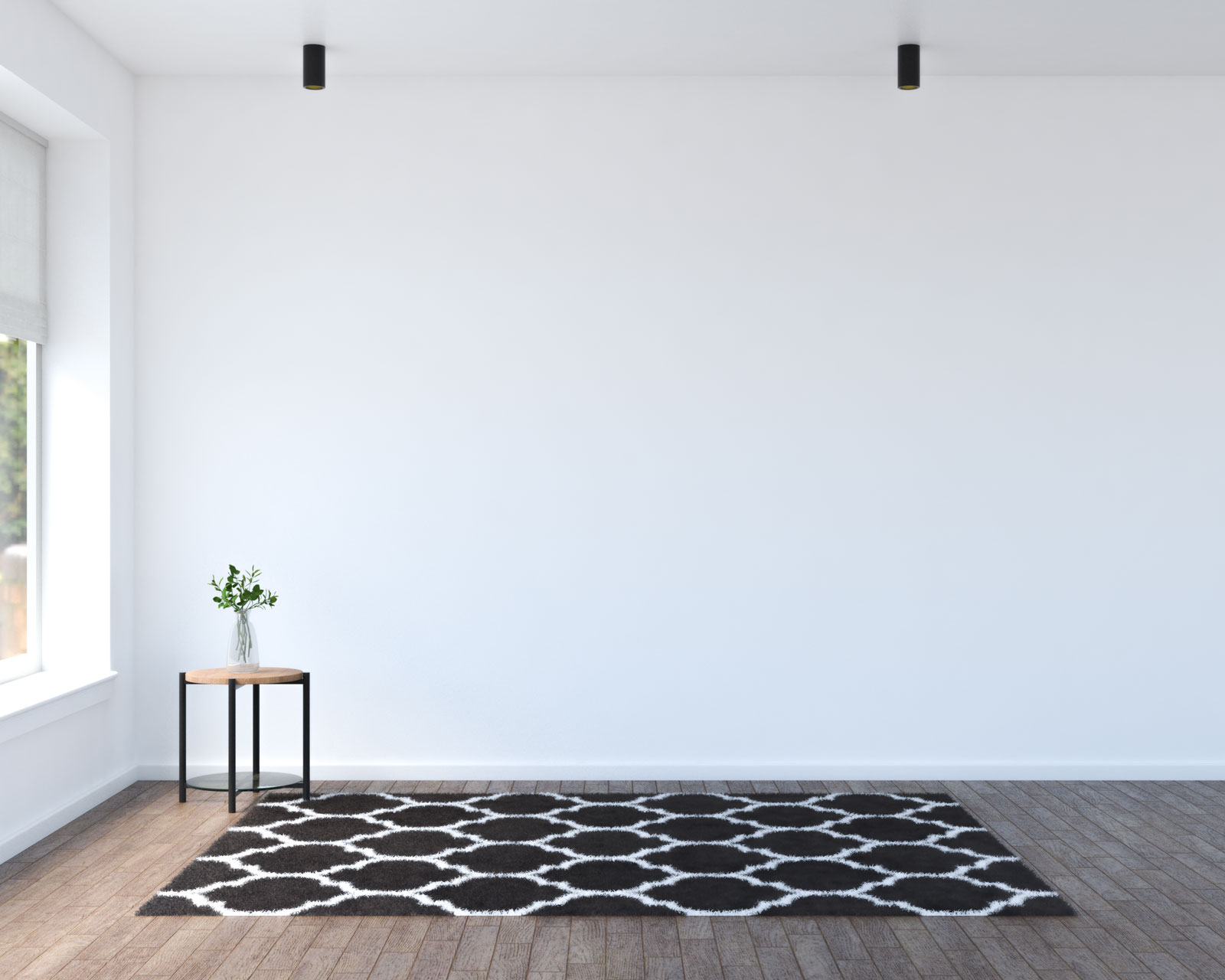 Brown and white rug with brown flooring