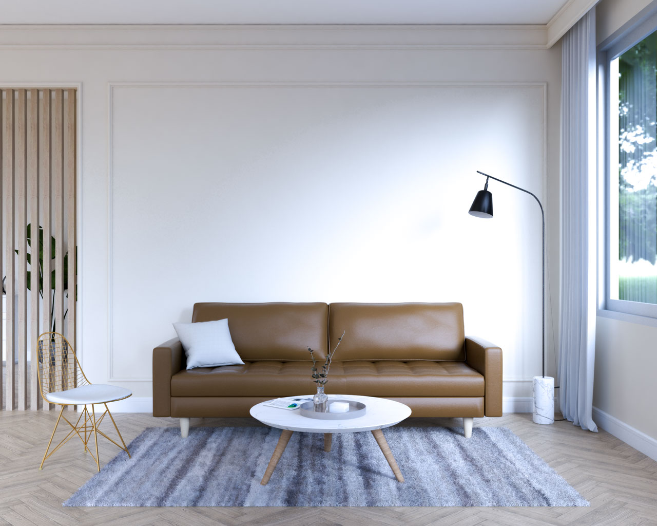 Brown leather sofa with beige wall