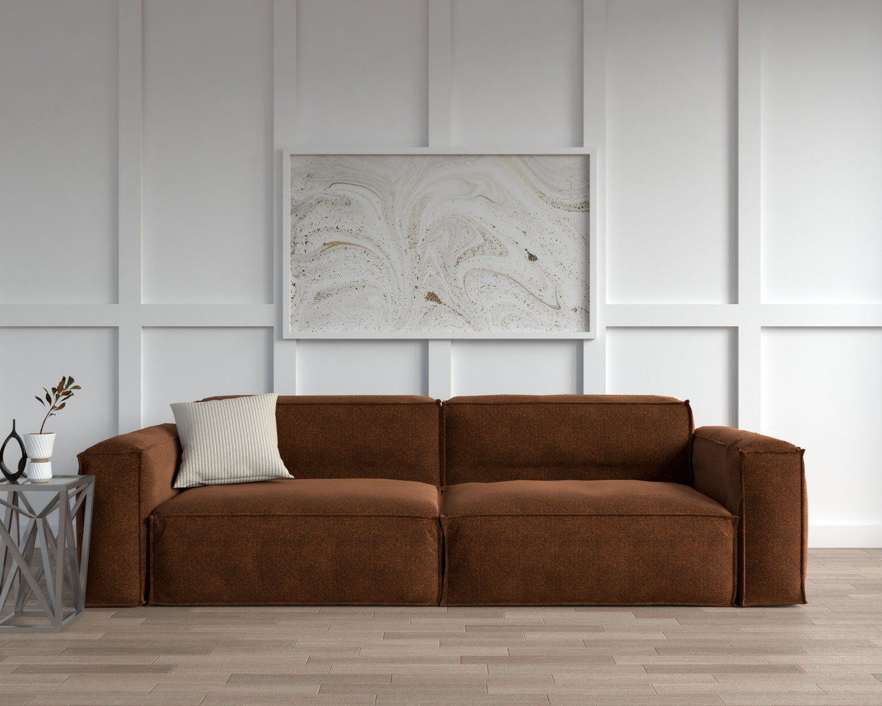 Brown couch with cream cushion
