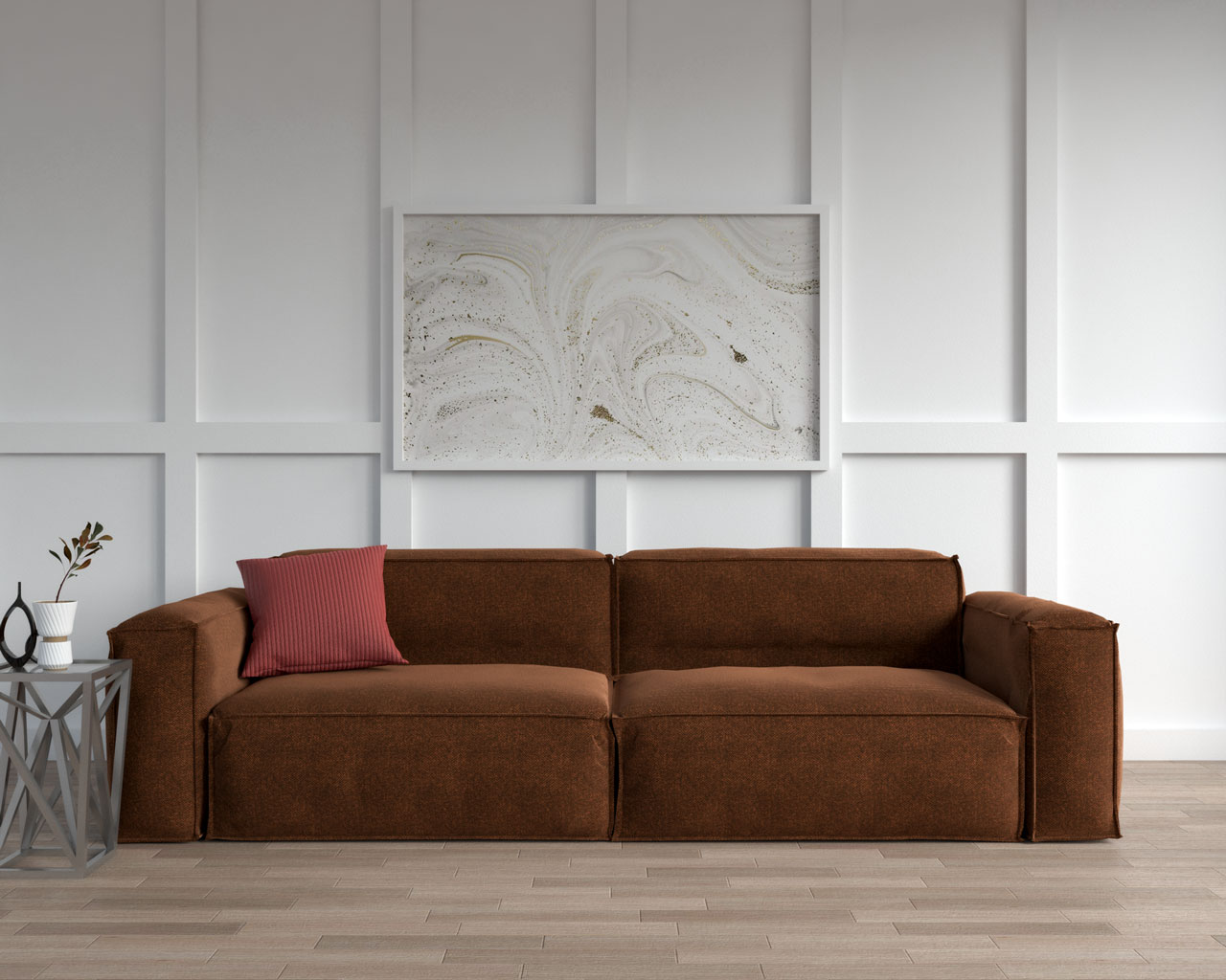 Brown sofa with red pillow