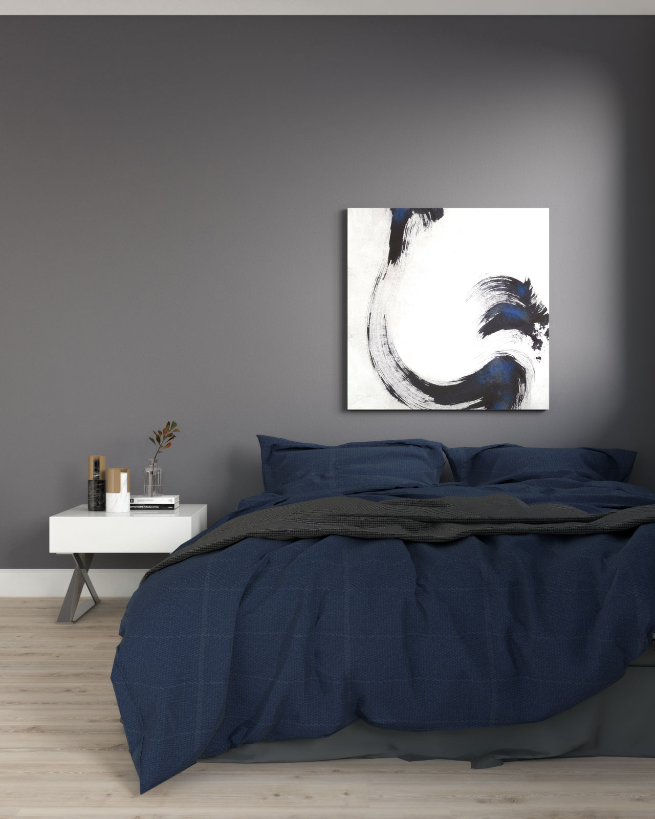 Charcoal accent wall in bedroom with dark blue accent