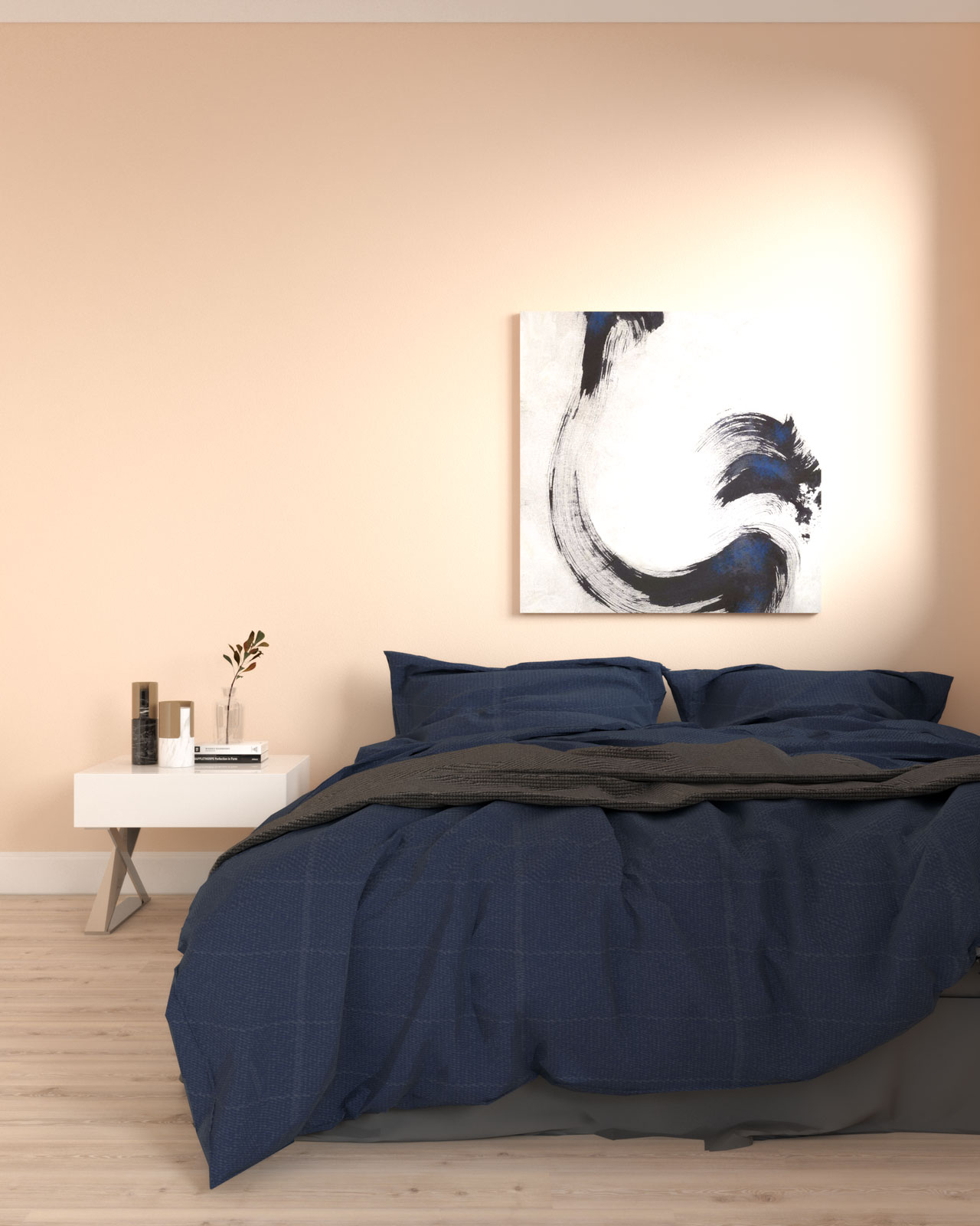 Coral and navy blue bedroom