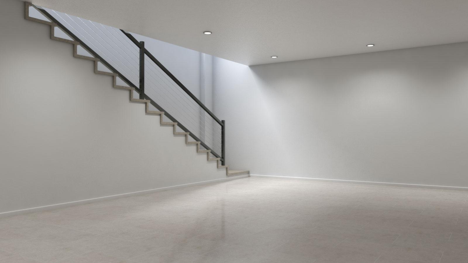 Basement using cream marble tile floors