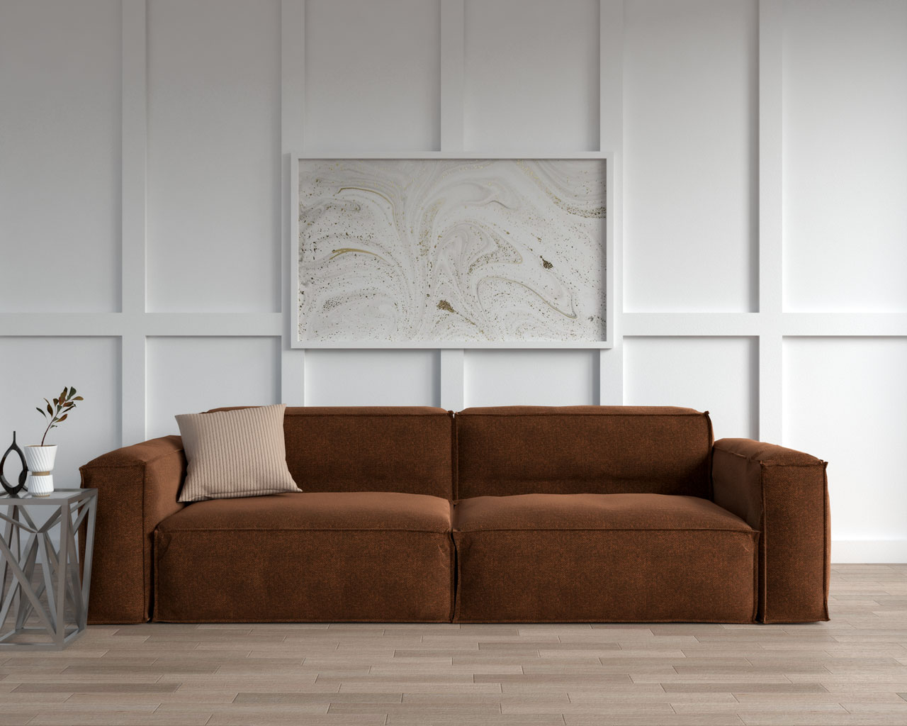 Brown couch with light brown pillow