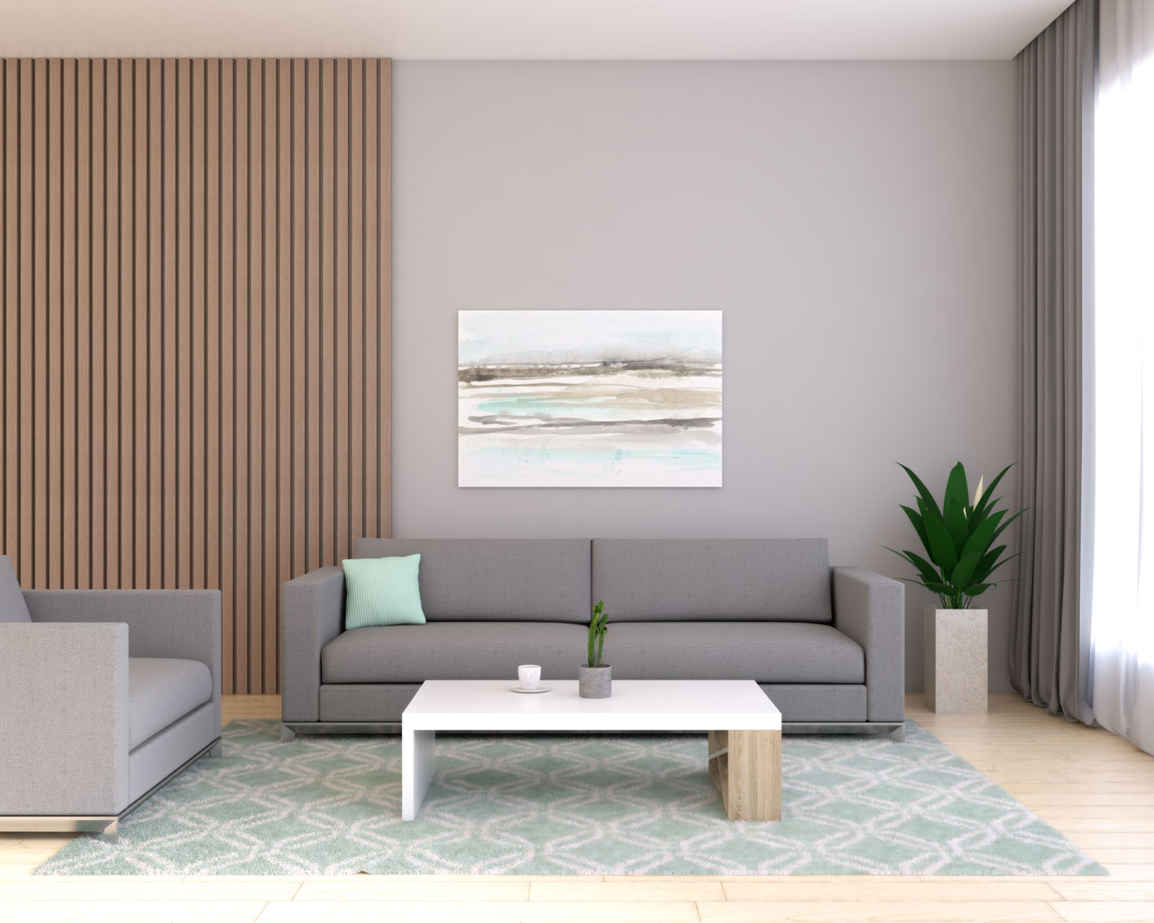 Gray living room with mint accent