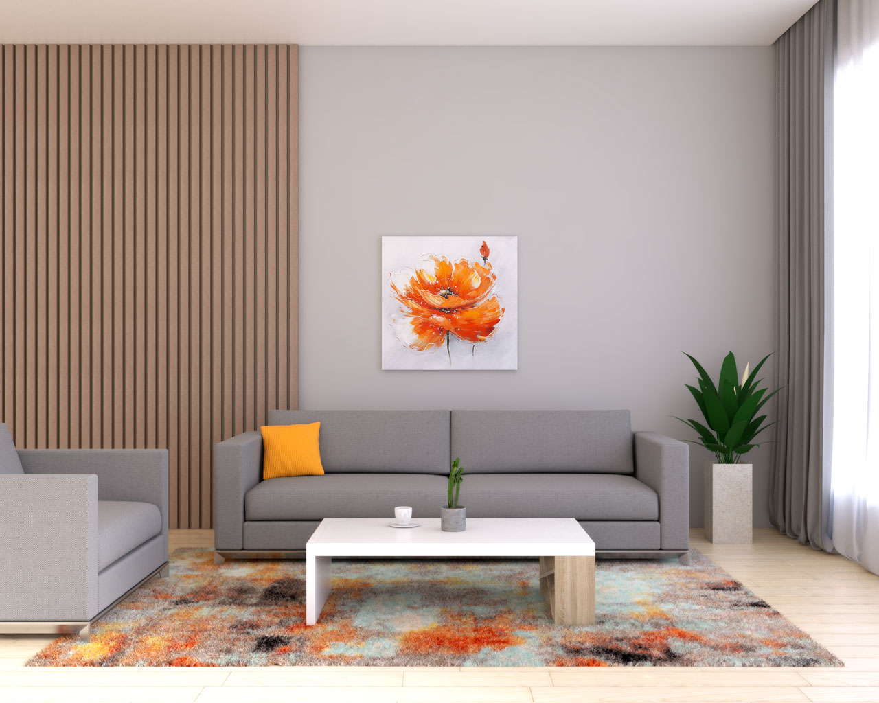 Gray living room with orange accent